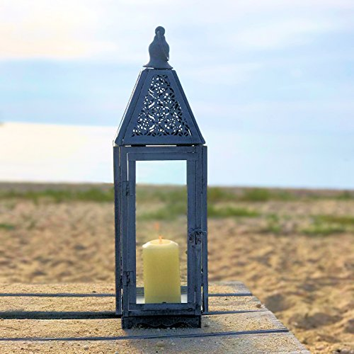 [The Farmer's Market Faded Lace Candle Lantern Hurricane, Tempered Glass, Rustic Gray Distressed Galvanized Finish, Weathered Worn Patina, 21 Inches Tall Including Loop, By Whole House Worlds] (Halloween Decor World Market)