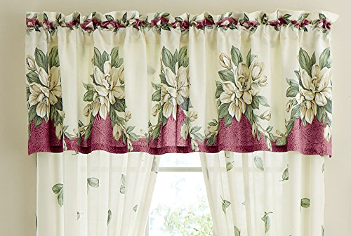 Magnolia Garden Floral Leaf Rod Pocket Window Curtain Collection, Burgundy, (Garden Kitchen Curtain)