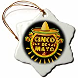 3dRose Sven Herkenrath Celebration - Cinco de Mayo Mexican Style Lettering and Sombrero on Black Background - 3 inch Snowflake Porcelain Ornament (orn_280382_1)