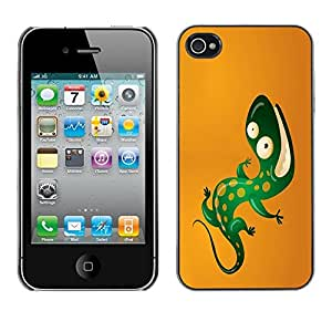 LECELL -- Funda protectora / Cubierta / Piel For Apple iPhone 4 / 4S -- Cool Funny Lizard --