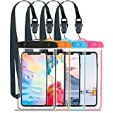 GLOUE Waterproof Case Universal Waterproof Phone Bag Pouch Drg Bag for iPhone Xs Max Xs Xr X 8, Galaxy S9 S9P S8 Note 9 8, Google & HTC up to 6.5 inches -4 Pack(Pink,Blue,Orange,Black)