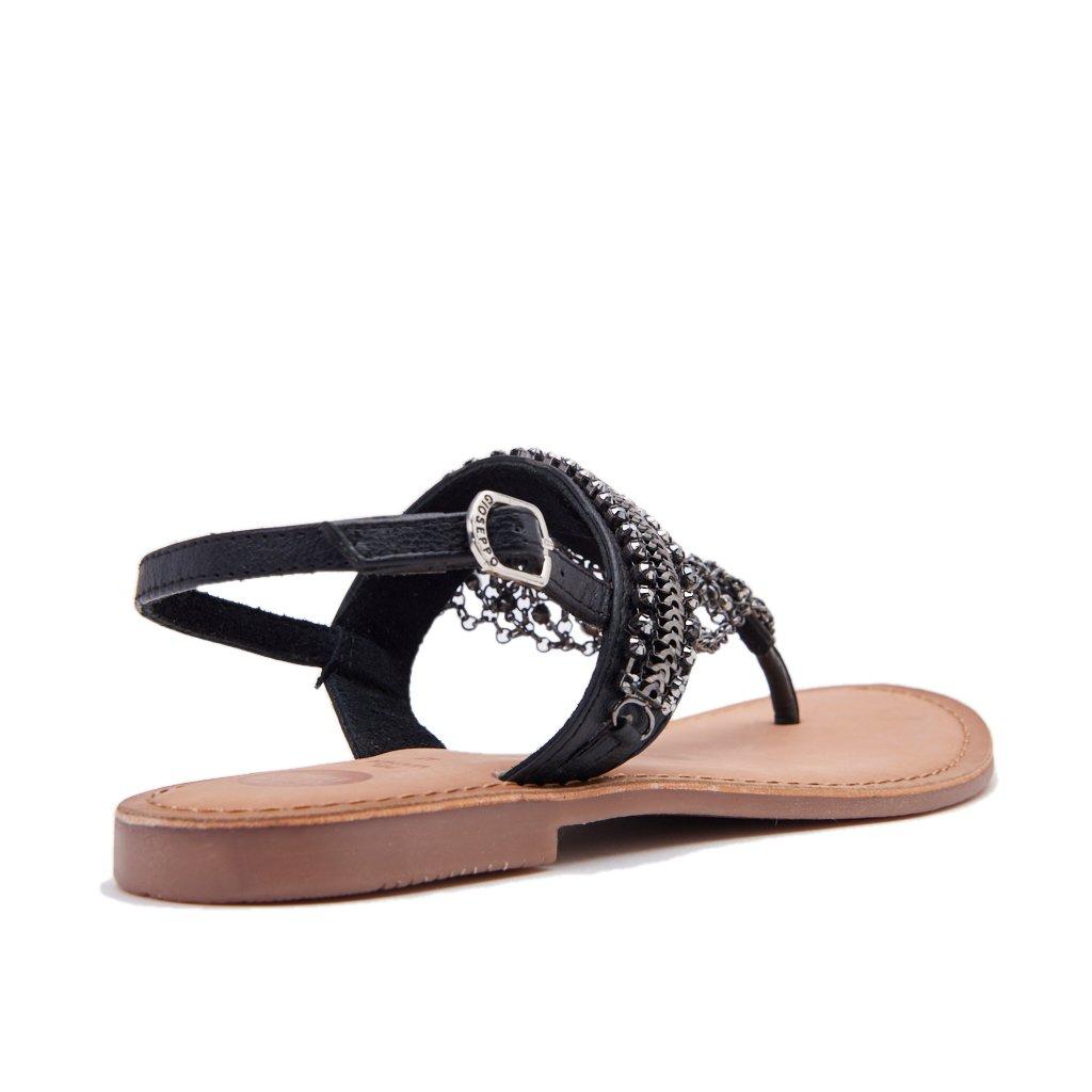 GIOSEPPO MYRNA 39850 sandalias de cuero negro las mujeres negras granos del rhinestone 38 sdrcjG