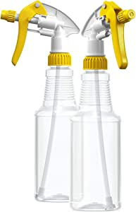 BAR5F Empty Plastic Spray Bottles 16 oz, BPA-Free Food Grade, Crystal Clear PETE1, Yellow/White M-Series Fully Adjustable Sprayer (Pack of 2)