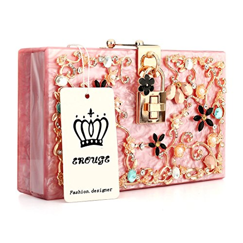 Pink EROUGE Purse Clutch Handbags Perspex Bags Acrylic Pearl Floral Women Bag Hot Beaded Clutches gqgwnrOxpf