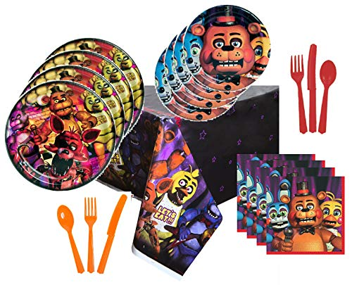 Five Nights at Freddy's Party Supplies Tableware Bundle Pack For 16 FNAF Guests - Includes 16 Dinner Plates, 16 Dessert Plates, 16 Dinner Napkins, 1 Tablecover, 8 each Red and Orange Knives Forks and Spoons