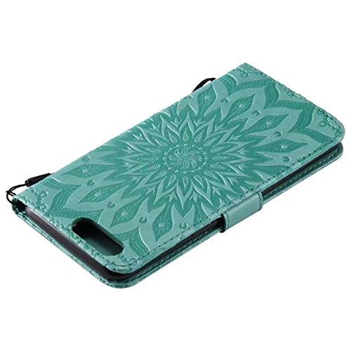 YHUISEN OnePlus 5 Caso, diseño de la impresión de la flor del sol Caja de cuero de la PU del tirón de la PU de la impresión del acollador con la ranura para tarjeta / soporte para OnePlus 5 ( Color :  Green