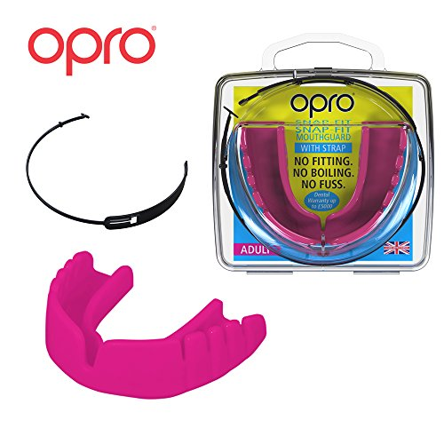 (OPRO Mouthguard Snap-Fit Gum Shield + Strap for Ball, Combat and Stick Sports -18 Month Warranty (Adult and Kids Sizes) (Hot Pink,)