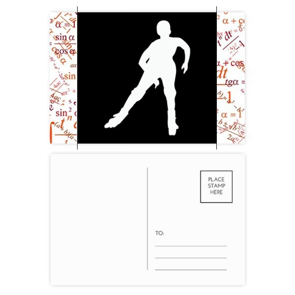 Winter Sport Skiing Black Silhouette Formula Postcard Set Thanks Card Mailing Side 20pcs