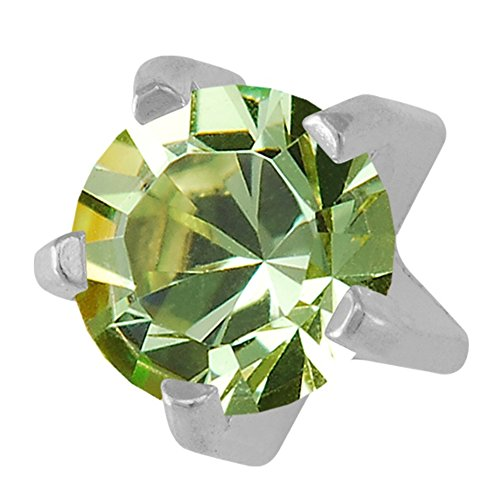Studex August/Peridot Mini 2mm Stainless Steel Claw Setting Ear Piercing Stud Earrings - Gem Peridot Steel