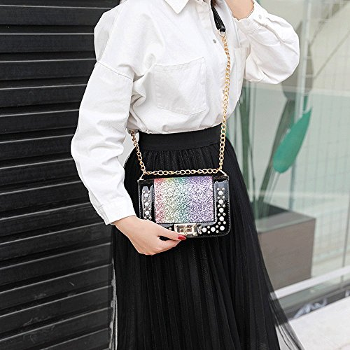 Mini Pu Locked With Leather Handbags Fashion Women Small Sequins Handbags Buckle Crossed Gold Chain Strap SdCqwIaW