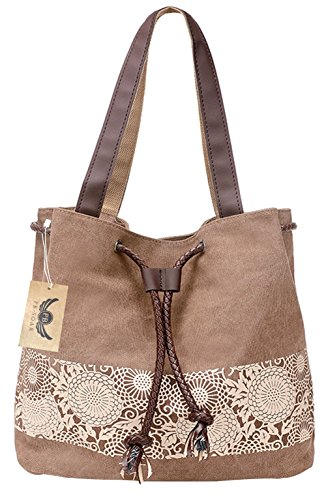 Tote Drawstring Canvas Brown Bag Ladies Handbag Shoulder grey Women's soar Pb Fashion Casual wY8x1nUqB
