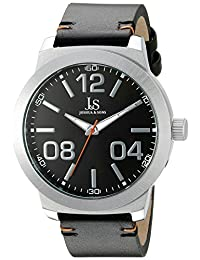 Joshua & Sons Men's JX103SSB Round Black Dial Three Hand Quartz Strap Watch