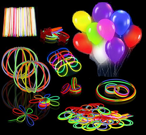 Ouker 20 Pack Mixed Colors LED Light Up Balloons-Glow Stick Accessories-Glow in the Dark Toys and Decoration,Perfect For Kids Birthday Party favor,Classroom Rewards,Carnival Prizes