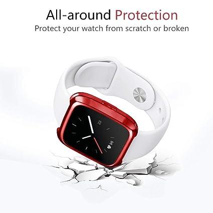 ... TPU de Recubrimiento Suave Funda Protectora de Silicona para Fitbit Versa Fundas Protector de Carcasa Reloj (Rojo): Amazon.es: Deportes y aire libre