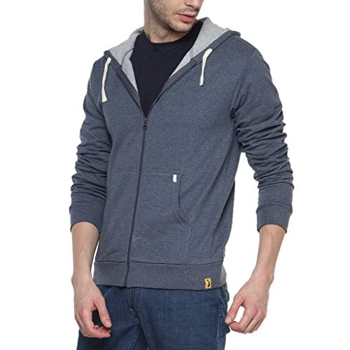 51ZWm7qeAXL. SS500  - Campus Sutra Men's Cotton Denim Zipper Hoodie