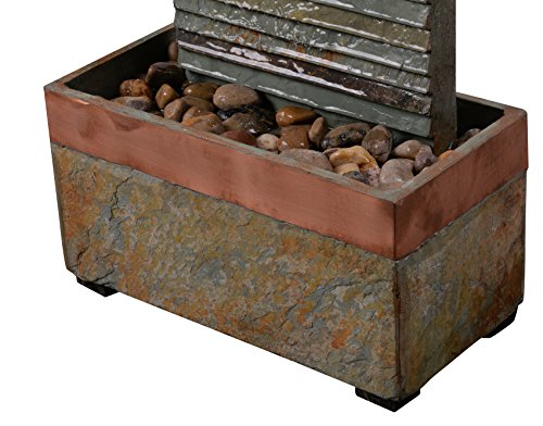 Kenroy Home 51013SLCOP Stave Indoor/Outdoor Fountain with Light, 48 Inch Height, Natural Green Slate and Copper Finish - NATURAL SLATE FINISH: adds a unique natural beauty to each piece SLATE: Constructed of thick and durable slate, this fountain is built to withstand the hazards of postal delivery all the way through weekend gardener stumbles DIMENSIONS: 48-inch Height, 16-inch width, 8-inch Extension - patio, outdoor-decor, fountains - 51ZWmO%2BhTeL -
