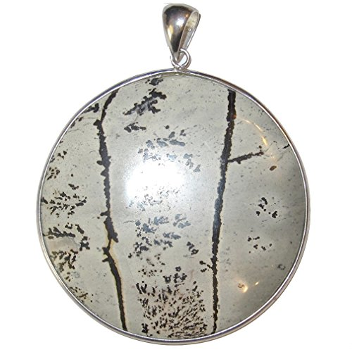 Jasper Pendant Dendritic 50 Gray Medallion Landscape Crystal Soothing Forest Stone Showpiece Jewelry 2.8