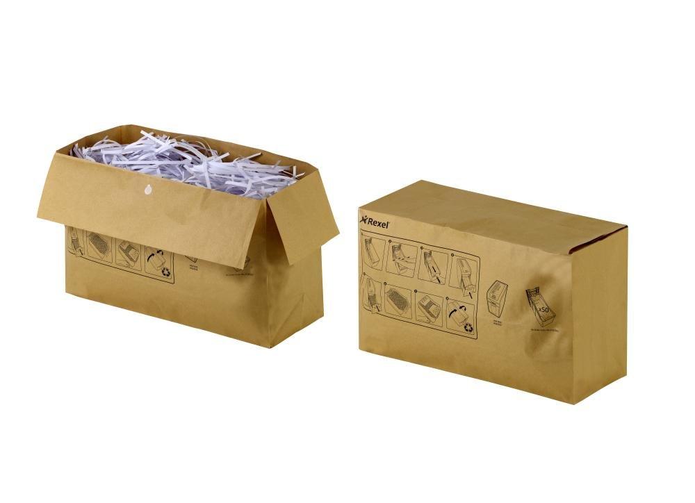 Rexel Sacchetti Riciclabili per Distruggidocumenti, Capacità 50L, Pacco da 50, Per Distruggidocumenti Rexel Mercury 50L, 2102441 ACCO Brands