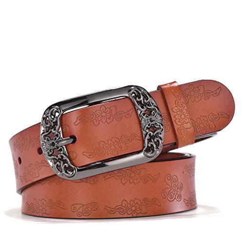 TUNGHO Vintage Genuine Leather Belts for Women with Embossed Pin Buckle for Western Cowgirl Jeans Dresses Pants Plus Size (Brown) ()