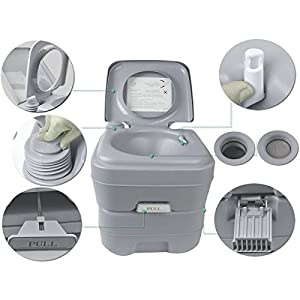 5 Gallon 20L Portable Toilet Flush Travel Camping Outdoor/Indoor Potty Commode NEW