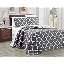 "2-Piece Oversize (66"" X 95"") Fine printed Prewashed Quilt Set Reversible Bedspread Coverlet TWIN/TWIN XL SIZE Bed Cover (Dark Grey, White, Quatrefoil Moroccan Lattice)"