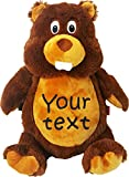 Personalized Stuffed Beaver with Two Lines of Embroidery