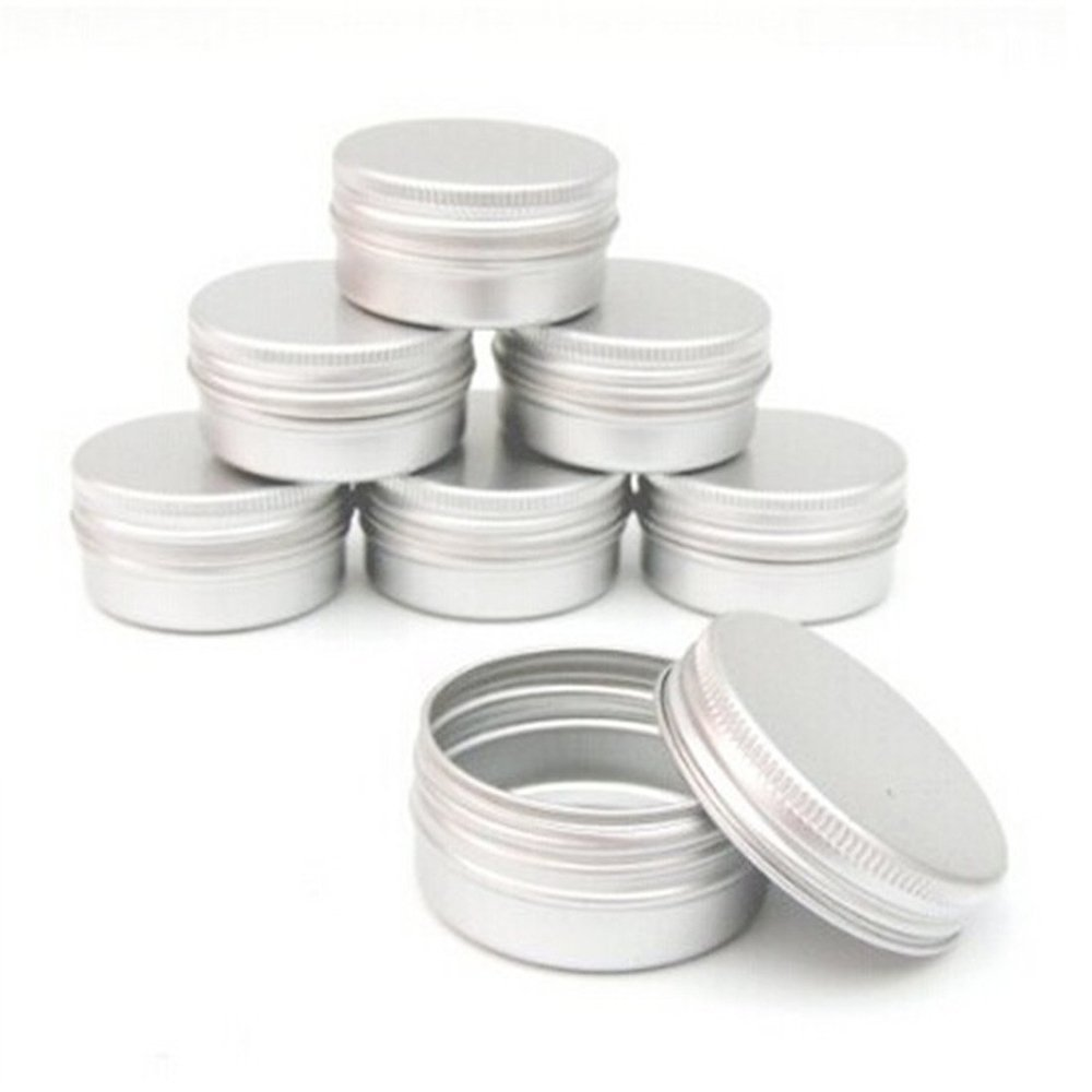 Jooks Aluminium Lip Balm Pots Makeup Cosmetic Cream Jar Pot Bottle Container Balm Nail Art Pot Tin Case Container 10PCs Silver