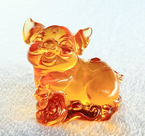 Chinese 12 Zodiac – Pig, Pure Handmade Colored Glaze Liuli Crystal, Collectible Glass Art, A Classic Gift from Oriental.Feng Shui Products,Pig Statue