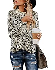Womens Shirts Leopard Print Round Neck Cute Tops Basic Casual Short Sleeve & Long Sleeve Soft Blouse