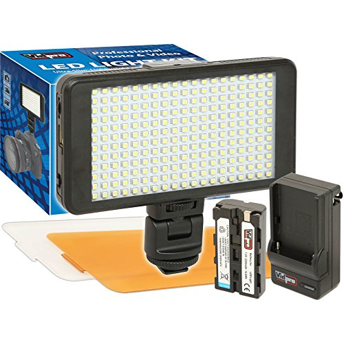 Slim Ultra Video - Vidpro LED-230 Ultra-Slim Video Light with 2 Diffusers, Battery & Charger