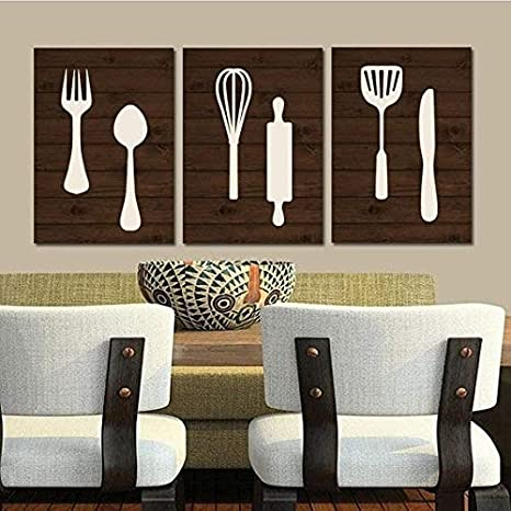 Amazon Com Kitchen Wall Art Canvas Or Print Wood Utensils Decor Fork Spoon Knife Tools Wall Decor Rustic Decor Country Dining Room Set Of 3 8x10 Inch Posters Prints