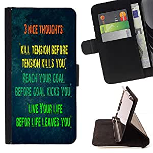 GIFT CHOICE / Billetera de cuero Estuche protector Cáscara Funda Caja de la carpeta Cubierta Caso / Wallet Case for Sony Xperia Z3 D6603 // Tension Goal Life Word Art //