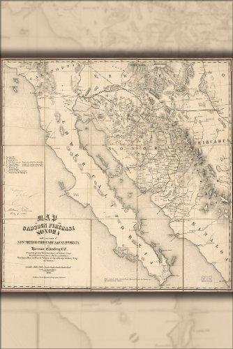 Poster Map Gadsden Purchase Sonora Baja California 1858 Antique Reprint