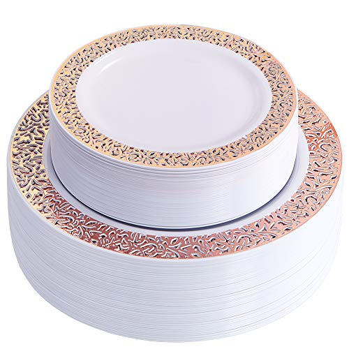 (60 Pieces Rose Gold Plates, Plastic Lace Plates for Party, Premium Heavyweight Disposable Plastic Plates Includes: 30 Dinner Plates 10.25 Inch and 30 Salad/Dessert Plates 7.5 Inch)