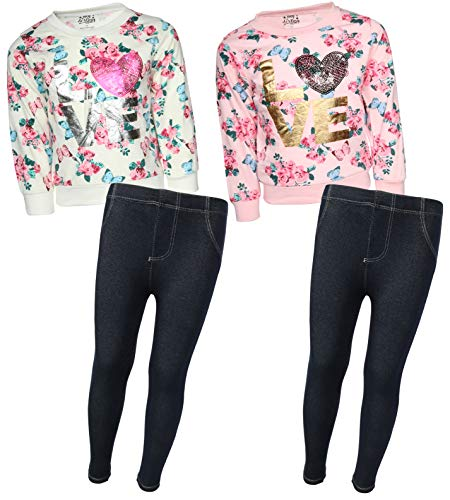 My Destiny Girls 4-Piece Fashion Top Legging Pant Set, Love, Size 10/12'