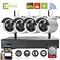 CNHIDEE 4CH IR HD Home Wifi Wireless IP Security Camera System DVR Kit 720P CCTV SET WIFI Outdoor HD NVR Surveillance cctv KIT with a 1TB HDD installed.