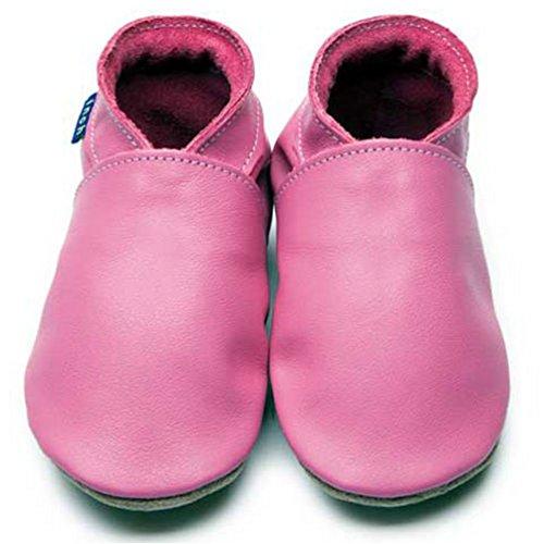 Inch Blue Mädchen/Jungen Schuhe für den Kinderwagen aus luxuriösem Leder - Weiche Sohle - Einfarbig Rosarot
