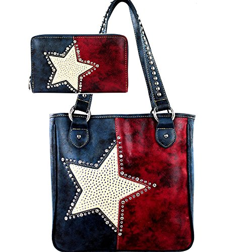 Montana West Handbag Wallet Set Western Texas Pride Patriotic Concealed Carry Handgun Purse CCW