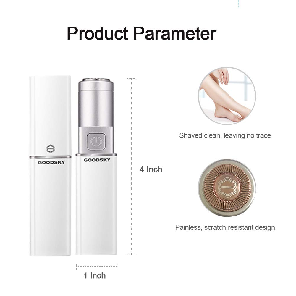 Painless Hair Remover Mini Shaver – GOODSKY Facial Hair Removal for Women Battery Not Included