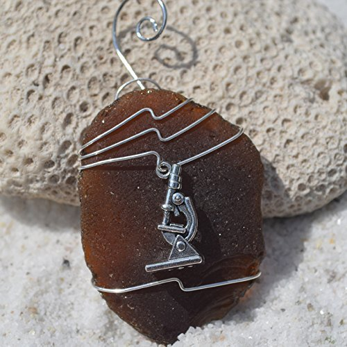 Custom Surf Tumbled Sea Glass Ornament with a Silver Microscope Charm - Choose Your Color Sea Glass Frosted, Green, and Brown.