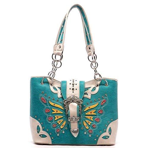 (Cowgirl Trendy Western Rhinestone Buckle Butterfly Handbag (Turquoise))