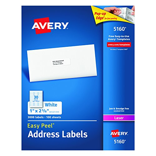 Mailing Label Templates (Avery Easy Peel Address Labels for Laser Printer, 1 x 2-5/8, White, 3000 per Box (5160))