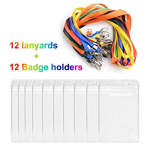 (Lanyards with ID Badge Holder iLoveCos 12 Counts)