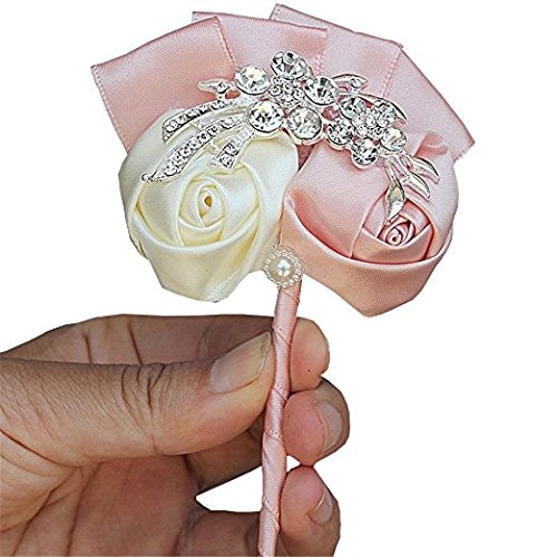 S_SSOY Bride Bridesmaid Artificial Flower Corsage Men's Boutonniere Groom Boutineer for Wedding Prom Hand Flower Decor Homecoming (Diy Shadow Box Ideas)