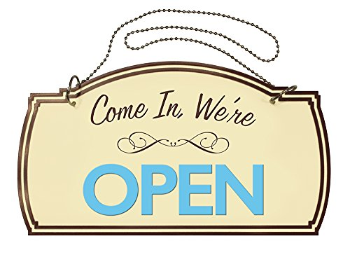 Two-Sided Open/Closed Boutique Sign, Hanging Hardware Included, 12 x 7 inches (098380) by Cosco