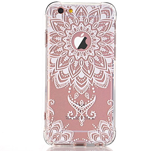 White Back Case - iPhone 5 case, iPhone 5s Se Case, LUOLNH White Henna Mandala Transparent Clear Design TPU Bumper Protective Shockproof Back Case Cover for iPhone 5 5s Se -A