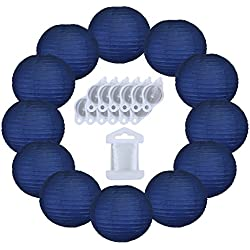 Just Artifacts 12inch Decorative Round Chinese Paper Lanterns 10pcs w/ 12pc LED Lights and Clear String (Color: Navy Blue)
