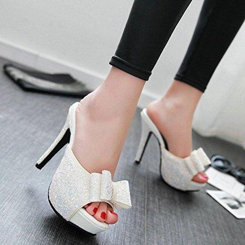 Coolcept Kvinnor Stilett Avlasta Skor Öppen Rygg Halka På Glitter Sexiga Mode Glider Sandaler Vita