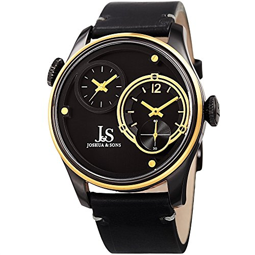 (Joshua & Sons Men's Leather Watch – Dual Time Displays – Chronograph Style Seconds – Black Band and Gold Stainless Steel Case – 50m Water Resistance - Precision Quartz Movement – JX118BKYG)