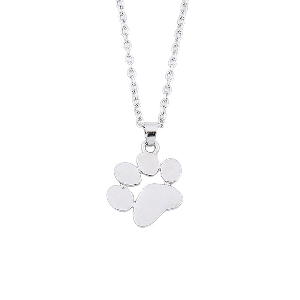 Paw Print Necklace, Dog Necklace, Paw Necklace, Dog Jewelry for Women, Dog Paw Necklace, Dog Pendant, Dog Necklaces for Women (Silver)